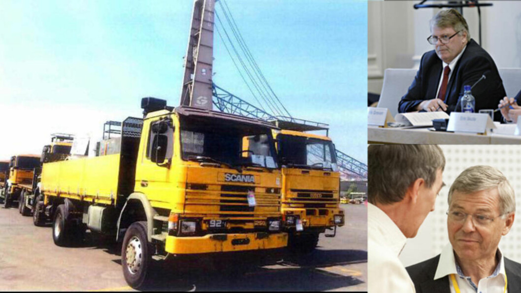 <strong>PÅ VEI:</strong> Tidligere militære lastebiler ble eksportert fra Drammen til Emiratene, hvor de her er fotografert. 17 Iveco lastebiler ble sendt videre til Eritrea, som er omfattet av en våpenembargo. Før eksporten ble lastebilene malt gule for å gi et mer sivilt inntrykk. Foto: FN/Scanpix/John Terje Pedersen