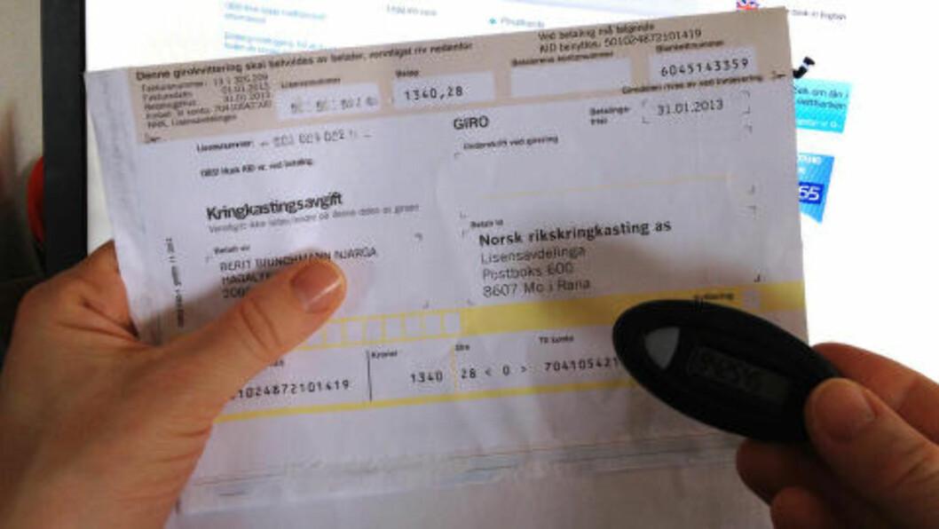 Mange synes nok NRK-lisensen er dyr de to gangene i året den kommer. Med regningskonto sprer du belastningen over hele året. Foto: BERIT B. NJARGA