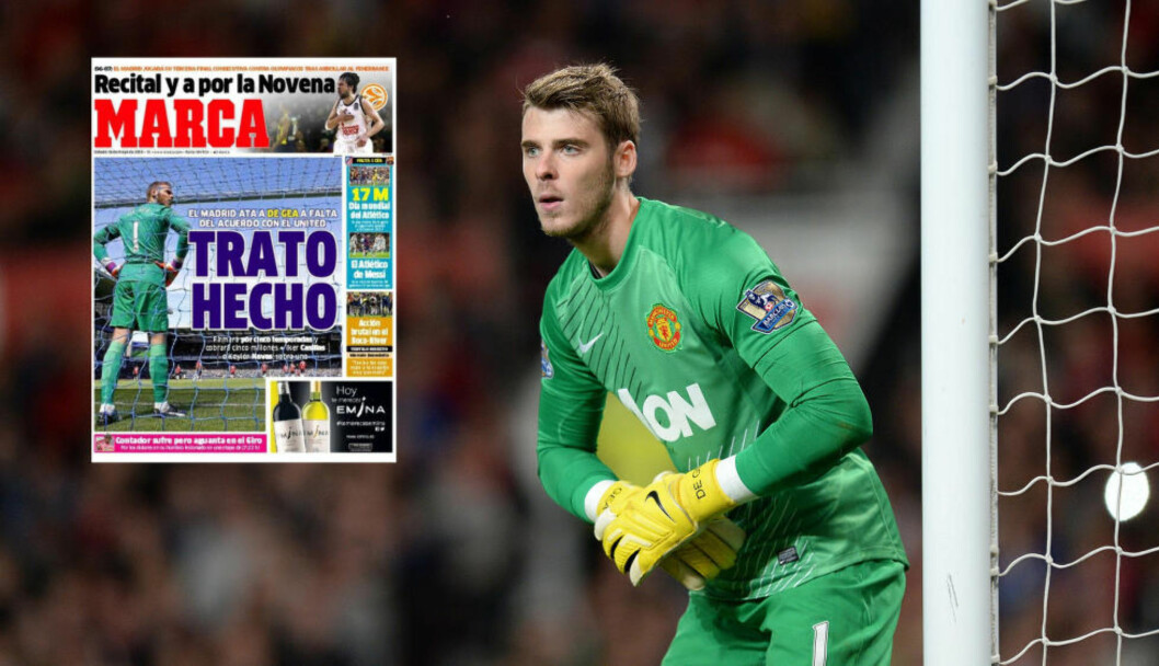 <strong> I BOKS:</strong>  Den spanske avisen skriver Marca skriver at David de Gea har kommet til enighet med Real Madrid. Foto: NTB Scanpix / Skjermdump Marca.