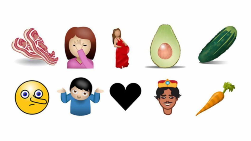UTVIDER: Emojiene blir flere. Her er forslag til hvordan noen av dem vil bli seende ut. Foto: Unicode