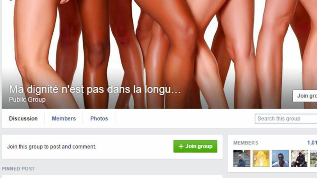 <strong>SVARER:</strong> De siste ukene har en rekke Facebook-grupper blitt opprettet under parolen «Verdigheten min ligger ikke i skjørtets lengde». Dette for å støtte opp rundt en kvinnelig algerisk student som ble bortvist fra eksamenslokalene fordi skjørtet hennes var for kort. Skjermdump: Facebook