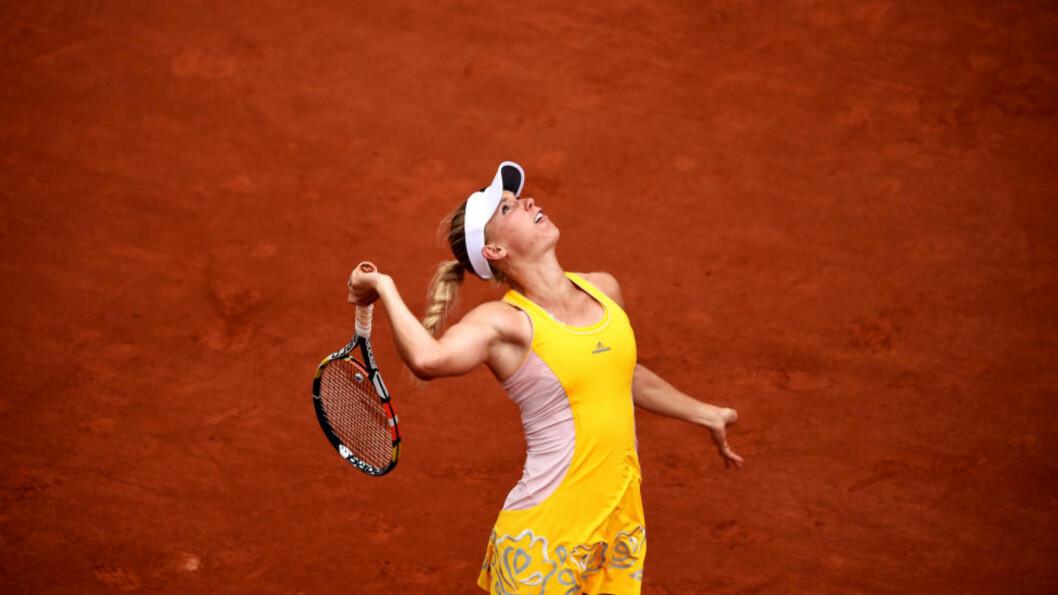 <strong>UTE:</strong> Det danske tennishåpet Caroline Wozniacki forsvant ut av Roland Garros-turneringen etter 4-6, 6-7-tap for tyske Julia Görges i 2. runde torsdag. Foto: NTB Scanpix