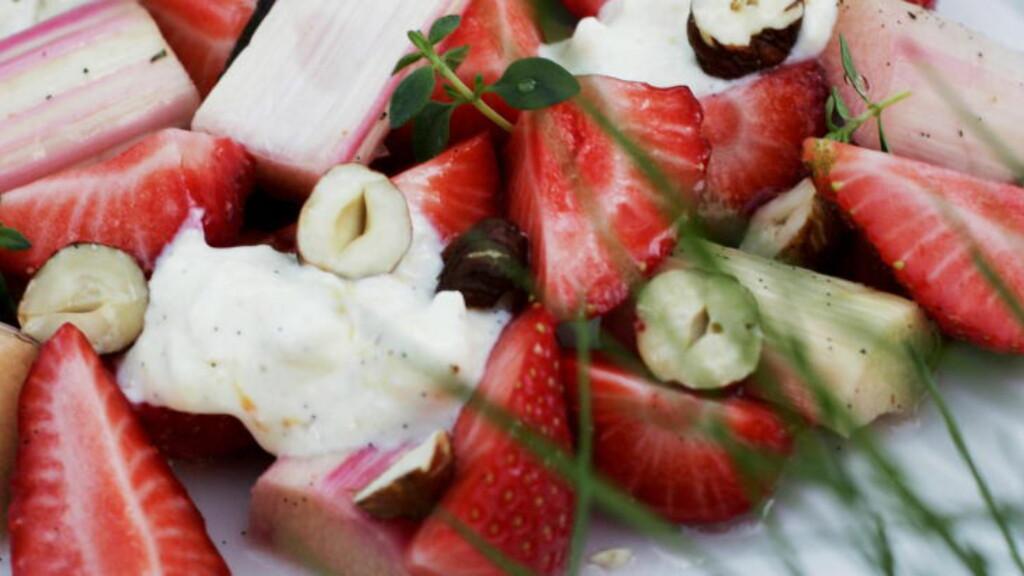 GODT PAR: Rabarbra trives med søtt følge. Jordbær og rabarbra er en uslåelig kombinasjon. Foto: ANDREA GJESTVANG