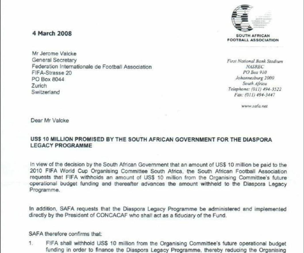 <strong>BREVET:</strong> Her er brevet som skal være beviset for at Fifas generalsekretær Jerome Valcke var tettere involvert i millionoverføringen til skandaleombruste Jack Warner enn han gir uttrykk for i dagens pressemelding fra Fifa.