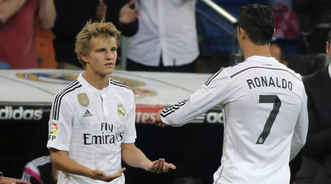 <strong>HISTORISK ØYEBLIKK:</strong>  Martin Ødegaard kom inn for Cristiano Ronaldo i kampen mot Getafe 23. mai. Det var debuten hans for A-laget til Real Madrid. Foto: NTB Scanpix