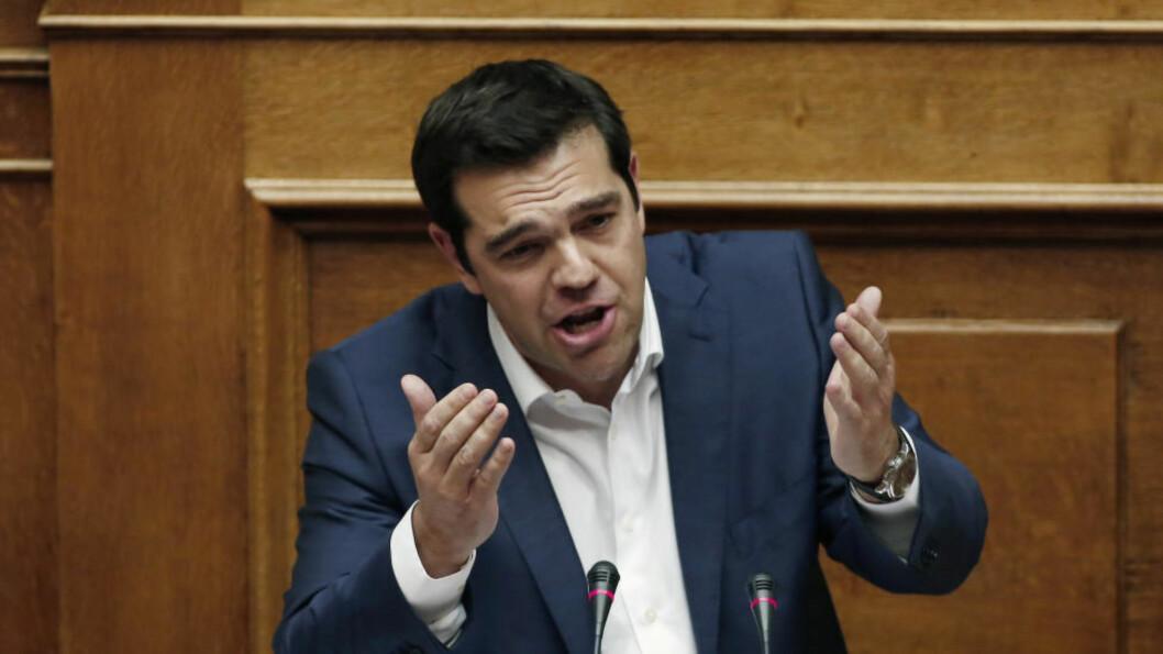<strong>- ABSURDE FORSLAG:</strong> Hellas' statsminister Alexis Tsipras har kalt långiverne EU og IMFs forslag til en avtale for både absurde og urealistiske. Foto: Scanpix