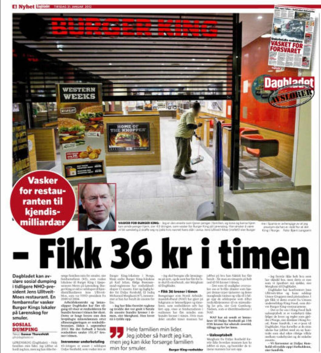<strong>ANDRE GANG:</strong> Dette er andre gang Dagbladet avdekker at Jens Ulltveit-Moe bruker underbetalt renholdere ved sine Burger King-restauranter. Faksimile: 31. januar 2012.