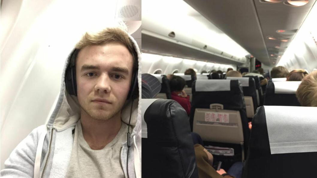 <strong>SITTER FAST:</strong> Andreas Solibakke og en rekke passasjerer som skulle til Molde fra Flesland, sitter nå fast på flyplassen. Foto: Andreas Solibakke