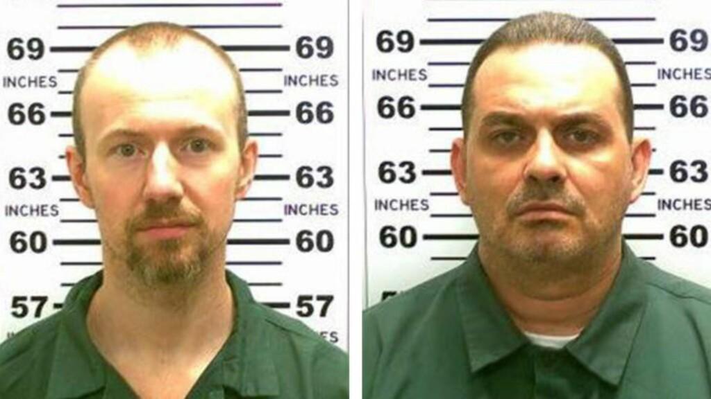DRAPSMENN: Både David Sweat (34, t.v.) og Richard Matt (48, t.h.) er dømt for drap. Matt knyttet et nært personlig forhold til kvinnen som nå er utpekt som rømlingenes hjelper. Foto: New York-politiet / EPA / NTB Scanpix