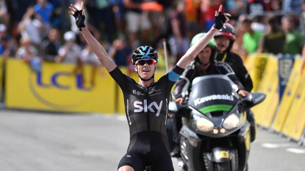 <strong>BØTELAGT:</strong> Chris Froome og Team Sky måtte glemme prispengene og tåle bot etter Froomes etappeseier lørdag da briten ikke stilte på den obligatoriske pressekonferansen. Foto: Tim De Waele, TDWSport.com