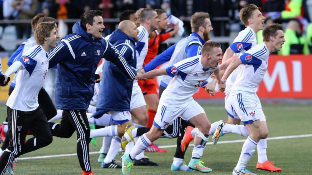 <strong>SENSASJON:</strong> Færøyene slo Hellas for andre gang på rad. AFP PHOTO / INTIMEsports