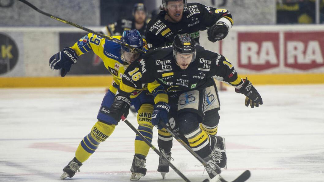 MØTES I RUNDE SEKS:  Forrige sesongs to finalelag Stavanger Oilers og Storhamar møtes i den sjette runden av GET-ligaen. Foto:  Foto: Carina Johansen / NTB Scanpix