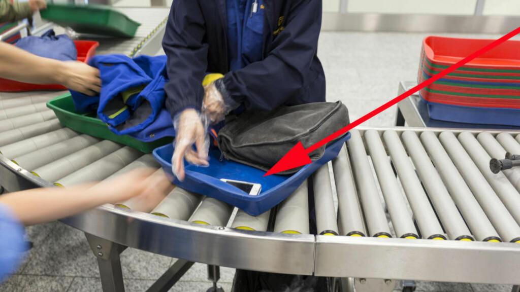 ØKNING I TYVERIER PÅ FLYPLASSEN: Ikke la klokker og verdisaker ligge synlig i boksene gjennom sikkerhetskontrollen, legg dem heller under noe annet. Og hold øynene på bagasjen din til enhver tid, oppfordrer Oslo lufthavn. Foto: KEYSTONE / NTB SCANPIX