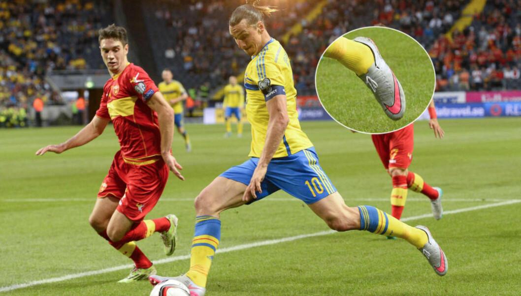 <strong> TILBAKE I NIKE-SKO:</strong>  Mot Montenegro spilte Zlatan Ibrahimovic igjen i Nike-sko etter å ha spilt en halvsesong i svartemalte sko. Foto: AFP PHOTO/JONATHAN NACKSTRAND