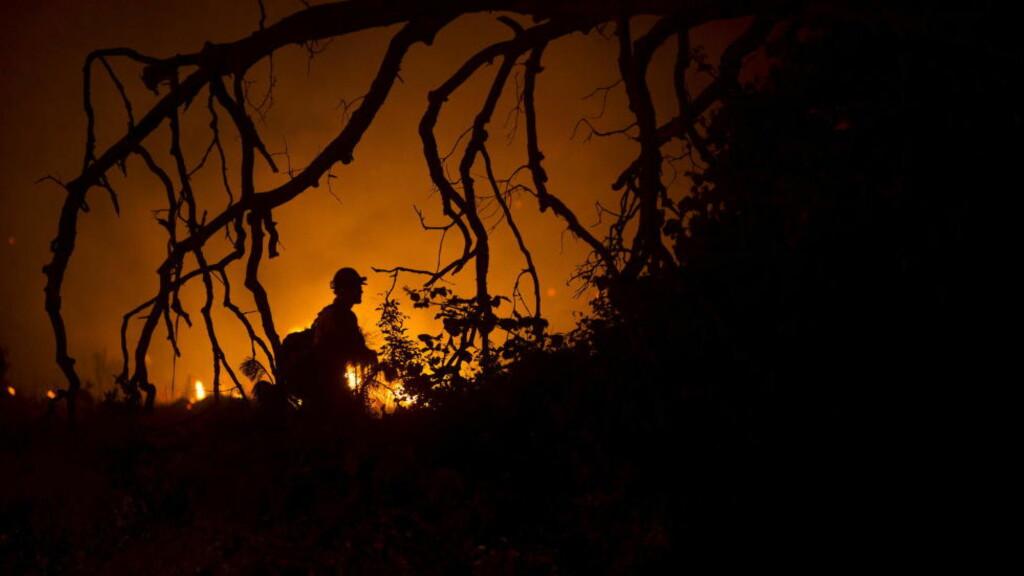 STARTET BRANN: En kvinne som fødte alene i ødemarka nord i California i USA overlevde ved å starte en skogbrann. Slik kom brannmenn til åstedet og fant henne. Bildet er fra en annen brann i det samme området tidligere i juni. Foto: REUTERS/Noah Berger/NTB Scanpix