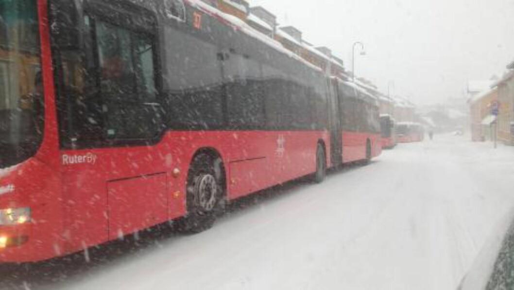 <strong> DÅRLIG DAG FOR BUSS:</strong>  Ruters busser har parket på rekke i Strømsveien i Oslio. FOTO: ØISTEIN NORUM MONSEN/DAGBLADET.