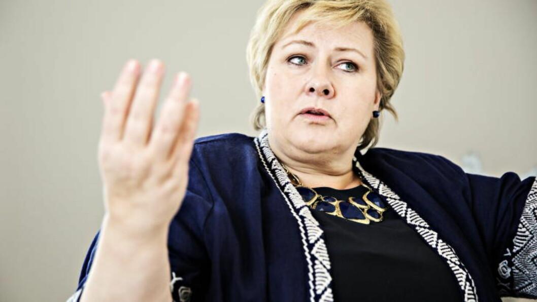 <strong>TAKKET NEI:</strong> Statsminister Erna Solberg. Foto:  Nina Hansen / Dagbladet