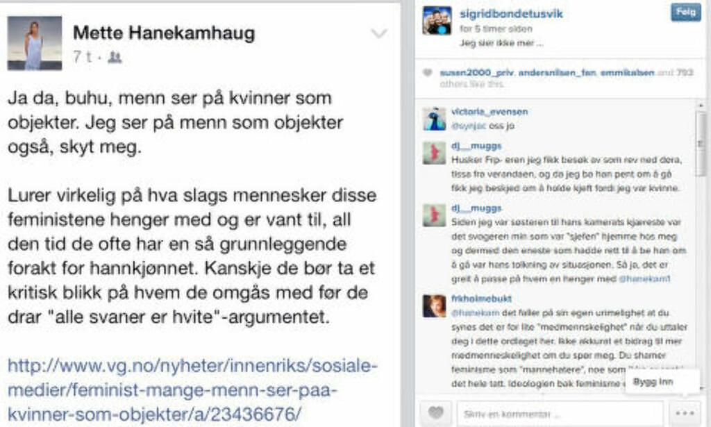 KRITISK: Sigrid Bonde Tusvik har gjengitt Hanekamhaugs innlegg og lagt til teksten: Jeg sier ikke mer... Skjermdump: Instagram
