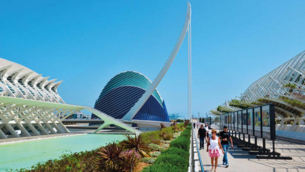 MESTERVERKET: De ikoniske bygningene i Ciudad de las Artes y las Ciencias (CAC) er blitt selve symbolet på Valencia. Her er Europas største akvarium, vitenskapsmuseum, kunstsenter, planetarium og IMAX-kino, alt sammen i slående, moderne arkitektur. Foto: GJERMUND GLESNES