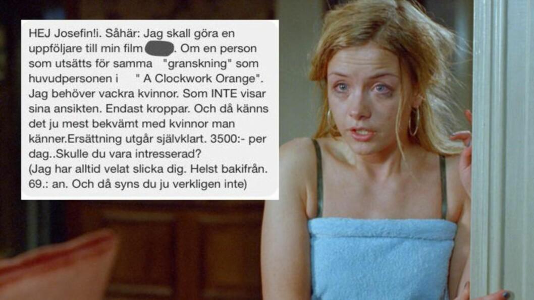 <strong>SEXMELDING:</strong> Skuespiller Josefin Ljungman deler en melding fra en svensk filmregissør. Foto: Scanbox / Faksimile Facebook