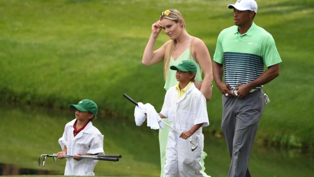 MED BARNA: Lindsey Vonn var tilstede sammen med Tiger Woods sine barn for å se ham spille i Master-turneringa i Augusta. Foto: AFP PHOTO / TIMOTHY A. CLARY / NTB Scanpix