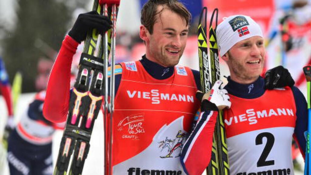 DOBBELT NORSK: Sundby og Northug på pallens to øverste trinn. Foto: Thomas Rasmus Skaug/Dagbladet