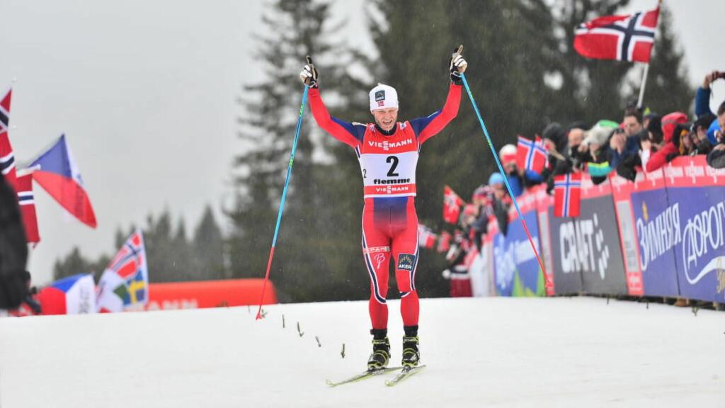 VANT: Det var aldri noen tvil. Martin Johnsrud Sundby dro ifra Petter Northug tidlig i monsterbakken i Val di Fiemme og sikret sin andre strake Tour de Ski-seier. Foto: Thomas Rasmus Skaug/Dagbladet