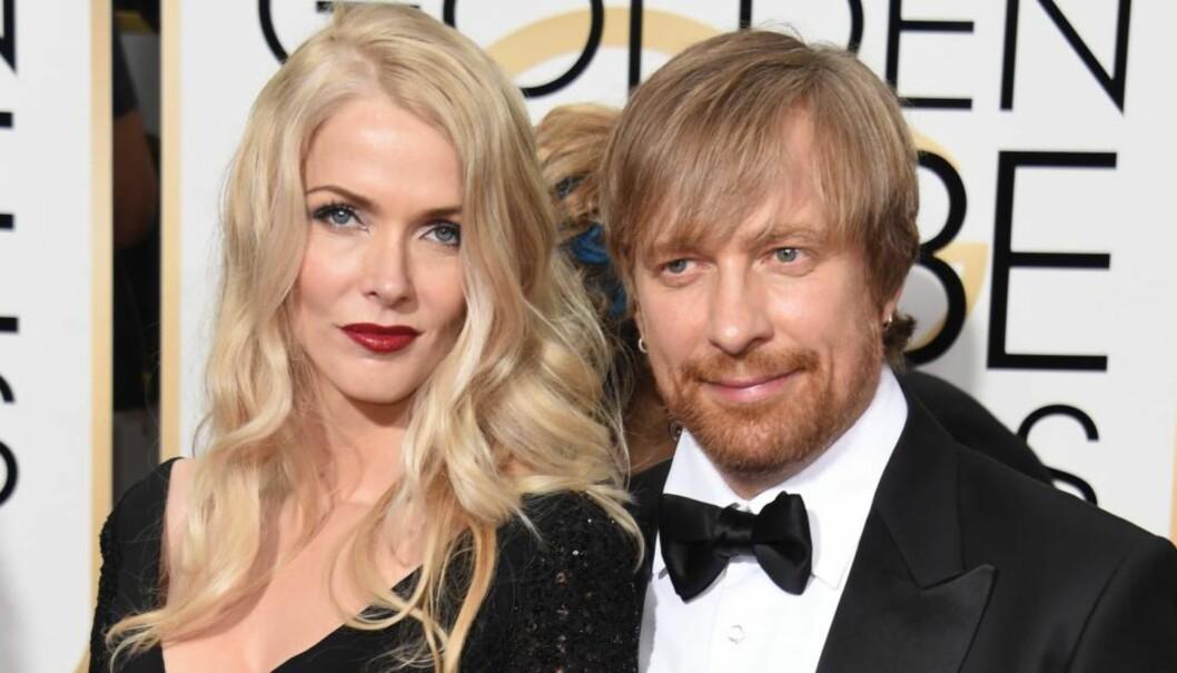 <strong>EKTEFOLK OG FORRENTNINGSPARTNERE:</strong> Janne Tyldum gleder seg over ektemannen Morten Tyldums Oscar-nominasjoner. Her er de avbildet under Golden Globe. Foto: NTB Scanpix