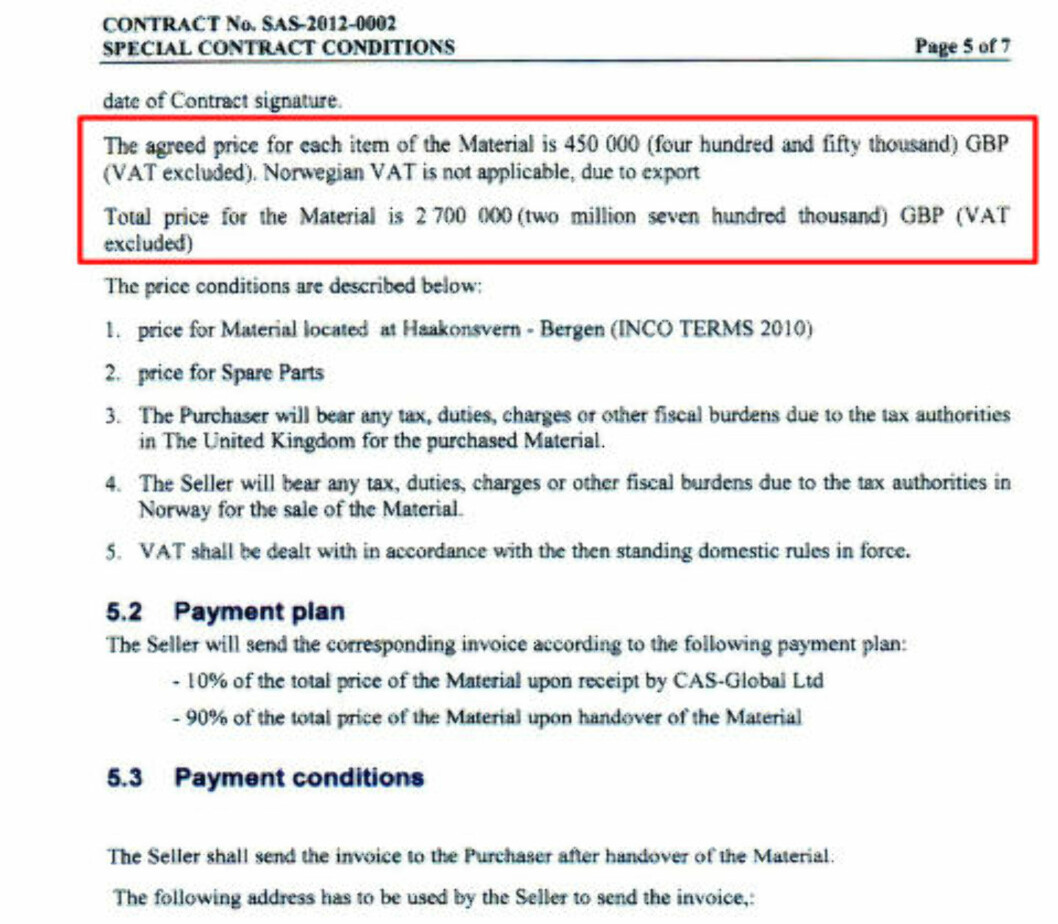 KONTRAKTEN: I kjøpekontrakten står det at CAS Global skal betale 450 000 britiske pund per båt.