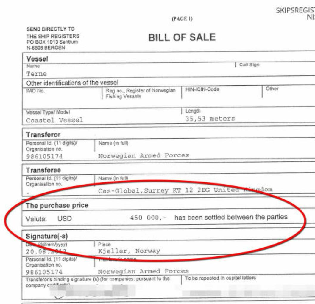 SALGSMELDINGEN: I salgsmeldingen er prisen blitt til 450 000 dollar per båt.