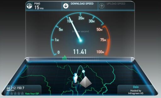 POPULÆR: Ooklas speedtest.net er en mye brukt tjeneste for å måle hvor rask nettlinje man har. Foto: PÅL JOAKIM OLSEN