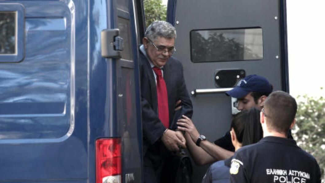 PÅGREPET: Partileder Nikos Mihaloliakos er tidligere blitt fengslet av politiet. Foto: AP Photo/ Sooc/ Menelaos Myrillas