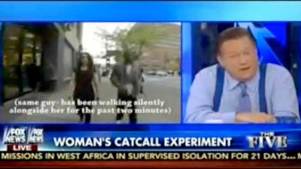 <strong>- FINT STYKKE:</strong> Bob Beckel i Fox News mener kvinnen ikke bør klage over ting som at en mann fulgte etter henne i fem minutter gjennom New Yorks gater. - Hun er et fint stykke, sier han i showet The Five. Foto: Skjermdump