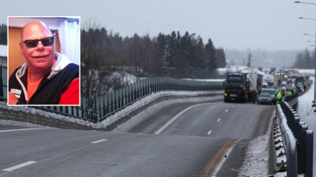 <strong> - SMALT:</strong> Roar Bringaker kjørte varebilen sin rett ned i dumpa på E18 etter at veien hadde begynt å kollapse like før 15-tida. Foto: Privat / Stener Kalberg