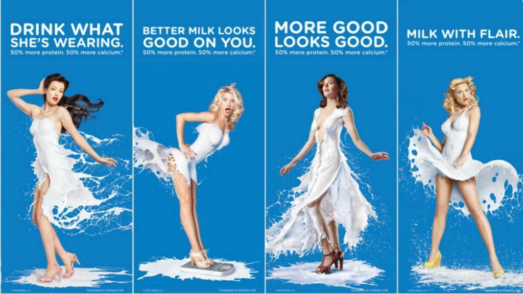 KRITIKK: Disse reklamebildene for melkeproduktet Fairlife, distribuert av Coca-Cola, fikk kraftig kritikk i fjor. Nå kommer melka i amerikanske butikkhyller. Foto: Fairlife
