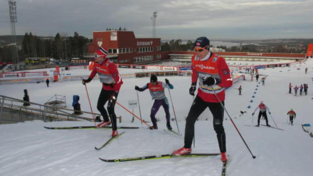 IKKE IMPONERTE: Verken Eirik Brandsdal (t.v.) eller Anders Gløersen lar seg begeistre av sprintløypa. Foto: Pål Marius Tingve / Dagbladet