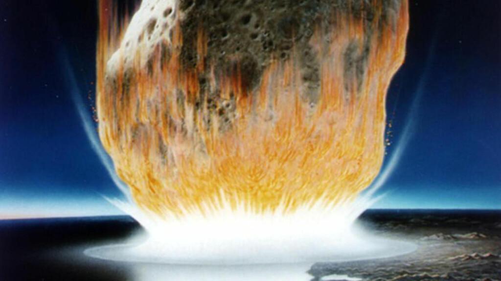 NATURKATASTROFE: Mange mener at en katastrofal astroide alene drepte dinosaurene da den dundret inn i jorda rett utenfor Yucatan-halvøya og lagde et 180 kilometer bredt krater for 65 millioner år siden. At en astroide skal treffe jorda, trekkes i en ny rapport fram som en av truslene som kan gjøre at jorda går under. Illustrasjon: NTB Scanpix