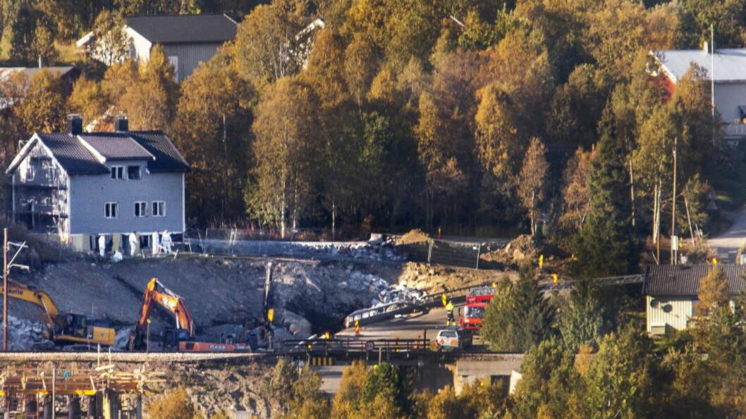<strong>SPRENGNINGSULYKKE:</strong> Tre personer mistet livet i en ulykke på en anleggsplass på Geilo i september 2014. Foto: Per Flåthe / Dagbladet