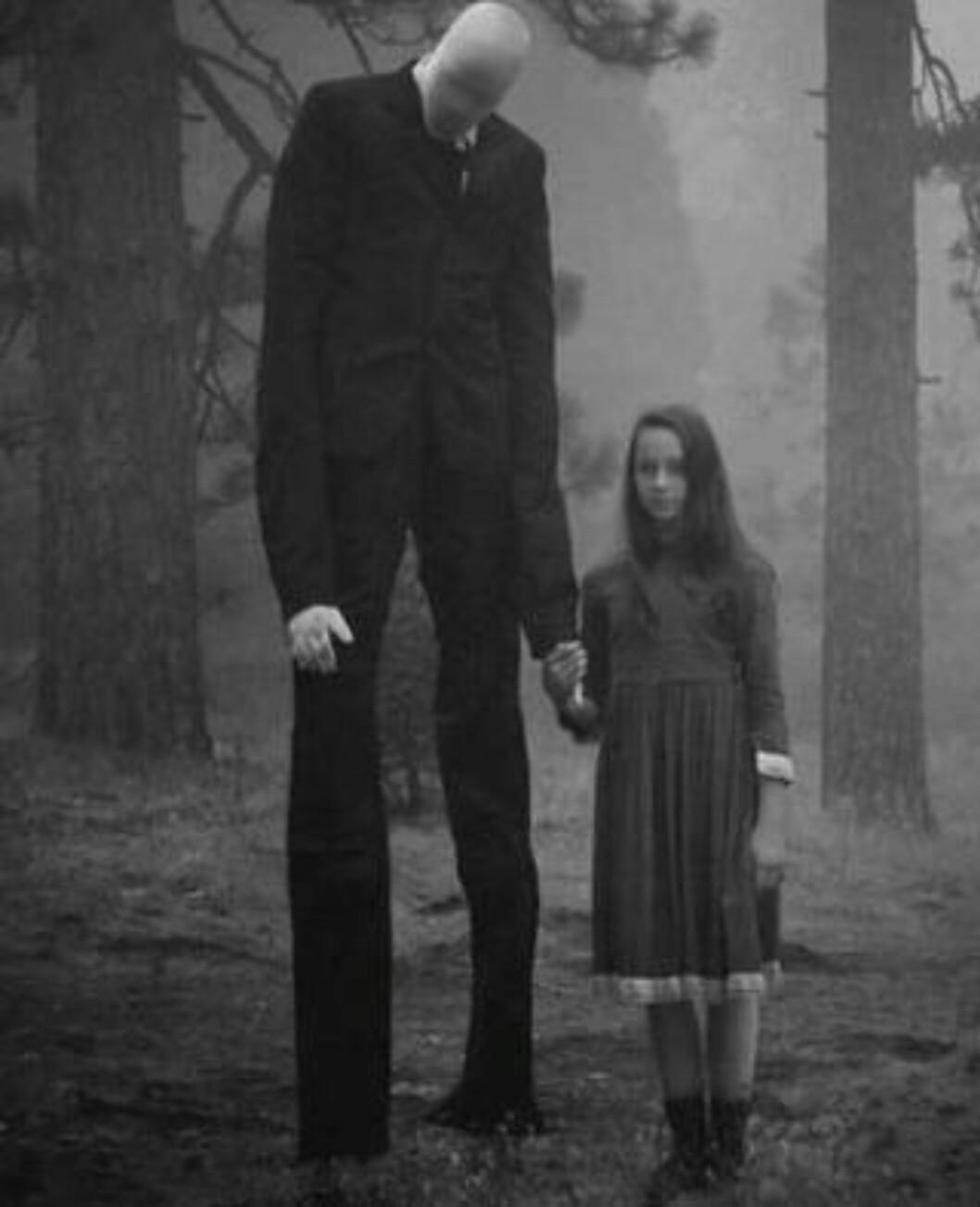 ANSIKTSLØS: Den pent kledde, men ansiktsløse «Slender Man», skal ha inspirert tenåringer til vold.  Foto: Something Awful