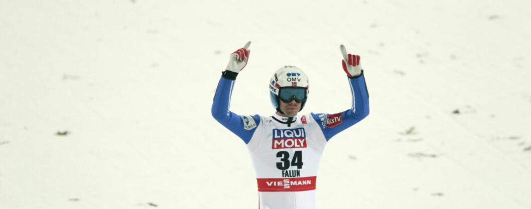 <strong>KJEMPEHOPP:</strong> Anders Bardal er med i toppen. Her jubler han for egen prestasjon. Foto: Bjørn Langsem/Dagbladet