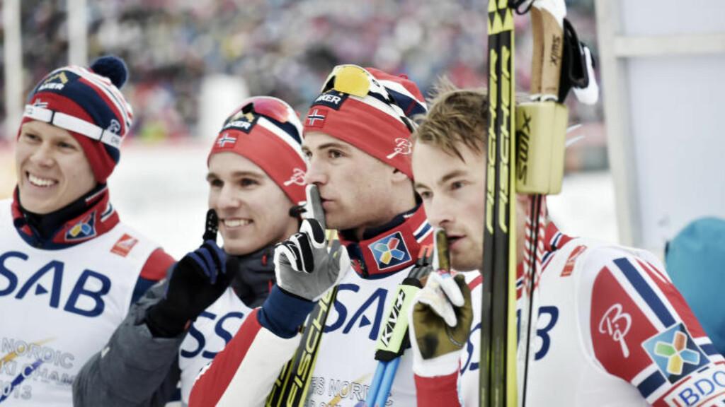 INNFRIDDE: De norske gutta innfridde forventingene og tok gullet på stafetten. Foto: Hans Arne Vedlog / Dagbladet