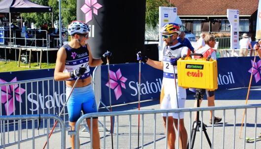 <strong>TETT FORHOLD:</strong> Emil Iversen og Petter Northug følger hverandre både i og utenfor løypa. Foto: Øyvind Godø / Dagbladet