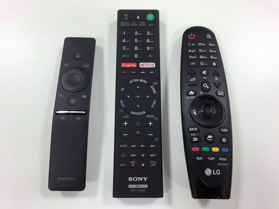 <strong><B>ULIKT</B>:</strong> Fra venstre: Samsung, Sony og LG. <a target=_blank href=http://www.media.allerinternett.no/bilde_db/l/60/813960.jpg>Klikk her for å se bildet i stor størrelse.</a> (Åpner i eget vindu) Foto: BJØRN EIRIK LOFTÅS