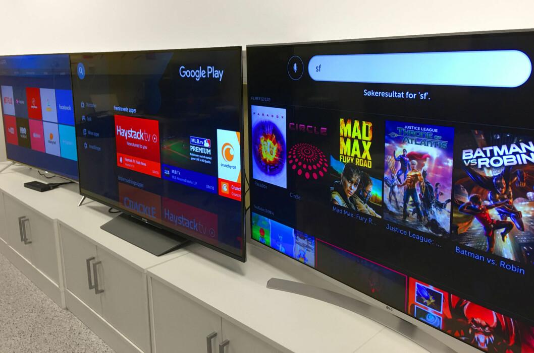 <strong><B>TRE BESTSELGERE</B>:</strong> Samsung, Sony og LG er alle store aktører på TV-fronten. Vi har funnet vår favoritt i mellomklassen blant 55-tommerne. Foto: BJØRN EIRIK LOFTÅS