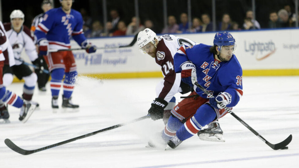 TAPTE: Mats Zuccarello og New York Rangers tapte mot Colorado Avalanche. Foto: AP Photo/Frank Franklin II