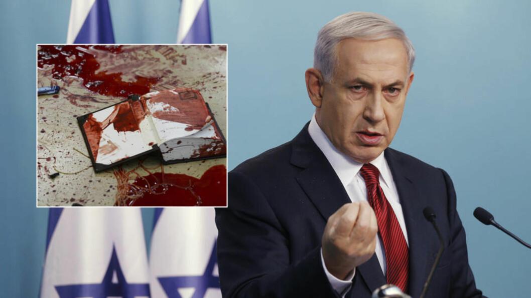 <strong>NY PR-STRATEGI:</strong> Kort tid etter terrorangrepet publiserte Israel bilder fra synagogen der fire mennesker ble drept i et terrorangrep. Foto: Baz Ratner / Reuters, Kobi Gideon for israelske myndigheter