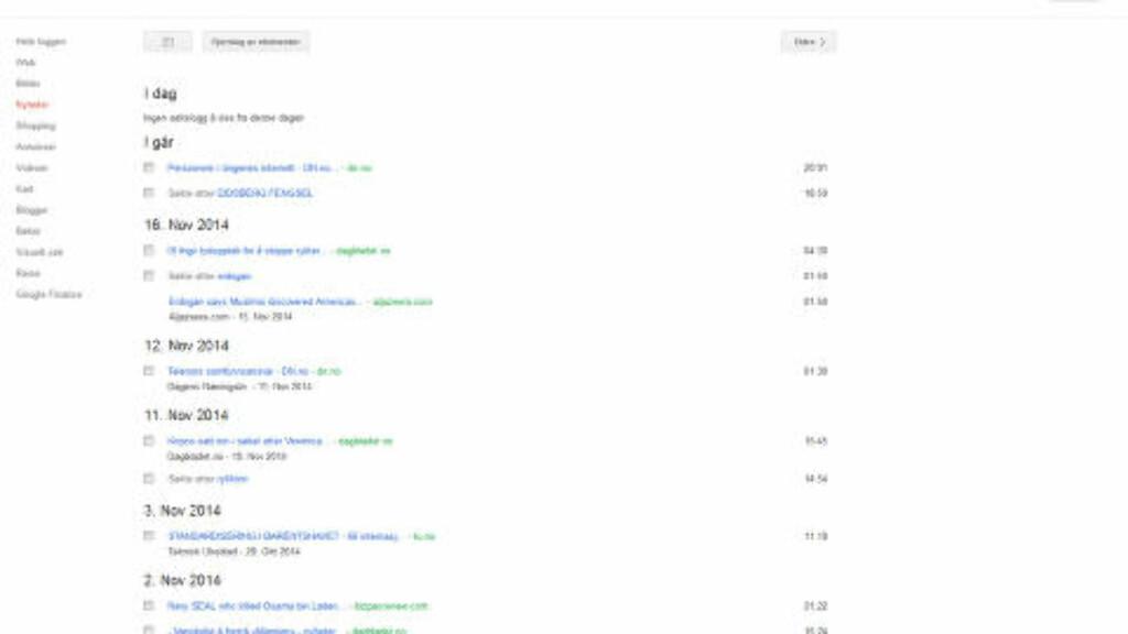 SØK: Oversikten over søkehistorikk gir en oversikt over hva og når du har søkt etter forskjellige ting på Google. Foto: Skjermdump.