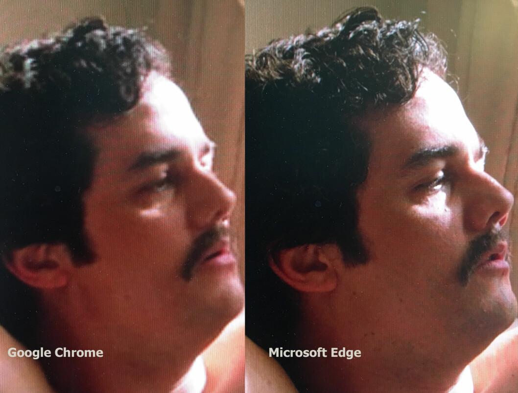 Skarphet og detaljnivå er vesentlig bedre når vi strømmer fra Netflix i Edge enn i Chrome.