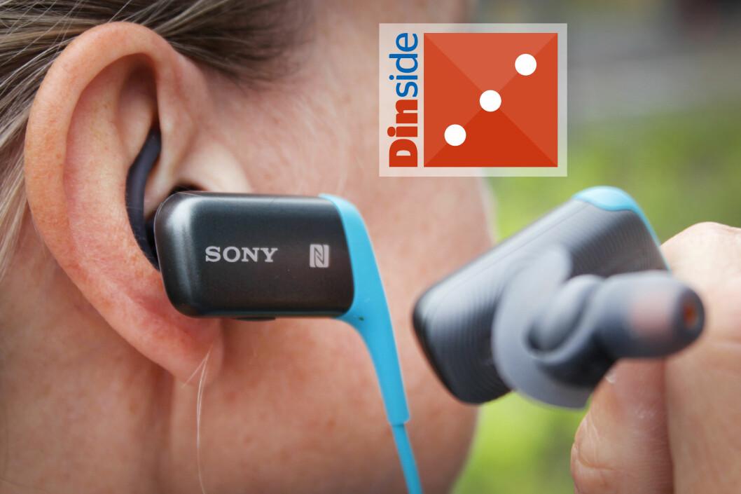 <strong><b>SONY PÅ STYLTER:</strong></b> Sportsøreproppene fra Sony stikker langt utenfor ørene. Du kamn bare glemme å løpe med dem med lue vinterstid. Foto: OLE PETTER BAUGERØD STOKKEOLE PETTER BAUGERØD STOKKE