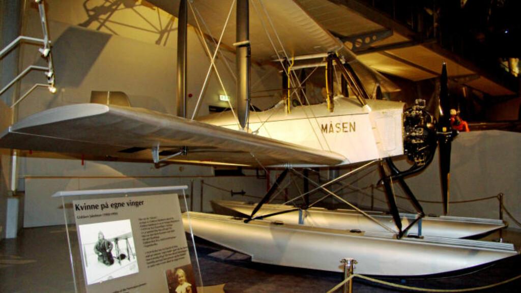 MÅSEN: Dette var Gidsken Jakobsens første fly. Hun var første kvinne som startet flyselskap i Norge. Foto: KIRSTEN MARGRETE BUZZI